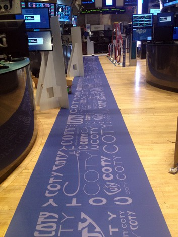 National Flag & Banner produces floor graphics for the COTY IPO