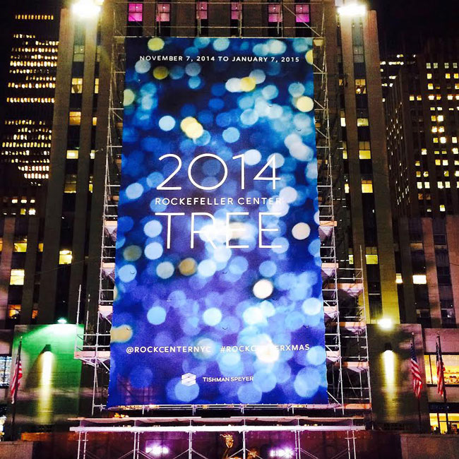 2014 Rockefeller Christmas Outdoor Banner produced by National Flag & Display (NYC)