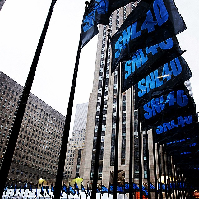 National Flag and Display produced the custom SNL40 flags at Rockefeller Center