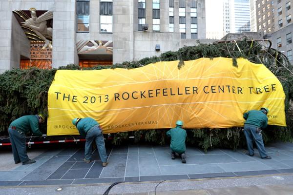 National Flag & Banner produces custom banners for 2013 Rockefeller Center Christmas Tree