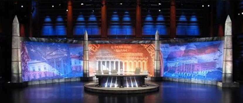 National Flag and Display produces banners E Pluribus Unum, On the set of Real Time with Bill Maher