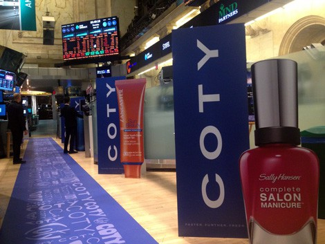 National Flag & Banner produces the COTY IPO banners, displays and floor graphics