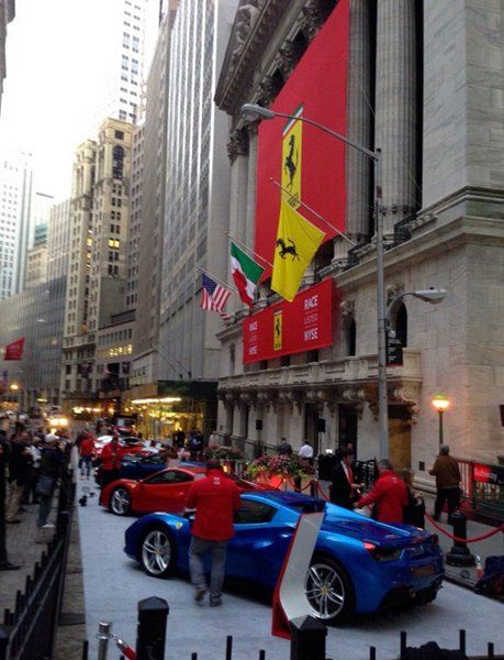 National Flag and Display produces the Custom Banners for Ferrari IPO at New York Stock Exchange.