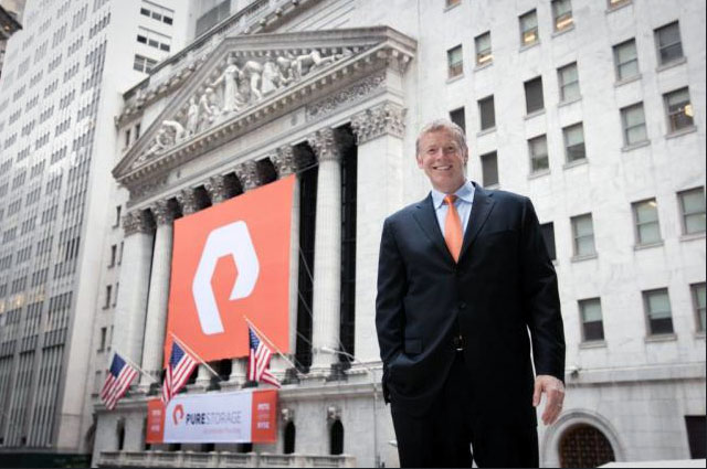 National Flag and Display produces the Custom Banners at the New York Stock Exchange for Pure Storage (IPO).