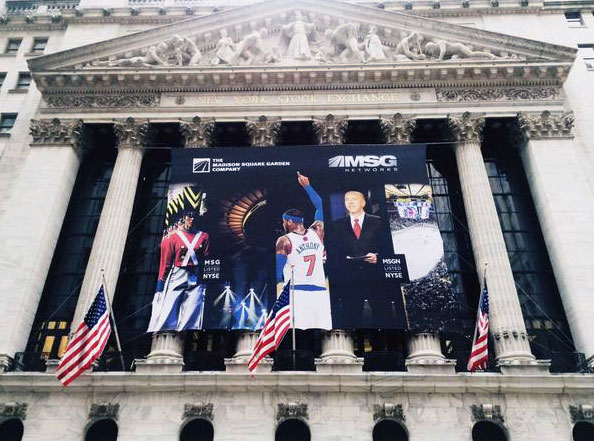 National Flag and Display produces Custom Outdoor Building Banner for MSG Networks in front of the New York Stock Exchange.