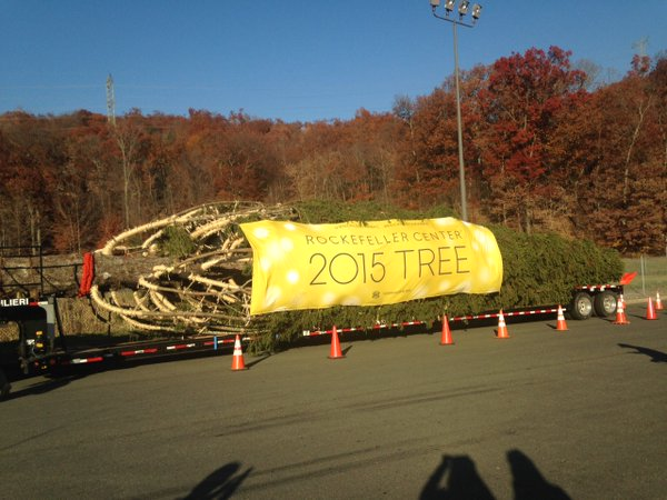 National Flag and Display produces Custom Outdoor Banner for the 2015 Rockefeller Center Christmas Tree