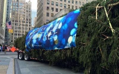 National Flag and Display custom outdoor banner for 2014 Rockefeller Center Christmas Tree