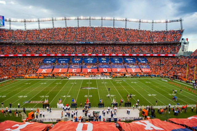 National Flag & Banner selected to provide custom outdoor banners to the NFL Kick Off Pre-Game Show in Denver and scores with 46 custom banners totaling almost 100,000 Sq. Ft. of printing!