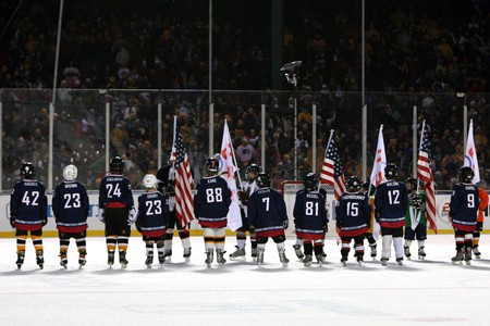 National Flag & Display produces custom Flag Displays for NHL Winter Classic Game at Ann Arbor, MI