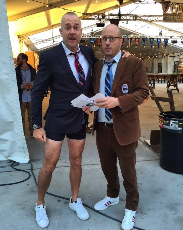 "Michael Davies and Roger Bennet, the ""Men in Blazers"" duo, host the first ever BlazerCon at the Brooklyn Expo Center - Custom Pennants produced by National Flag and Display (NYC)"