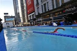 National Flag & Display produces custom banners for Diana Nyad swim marathon at Macy's at Herald Square (NYC)