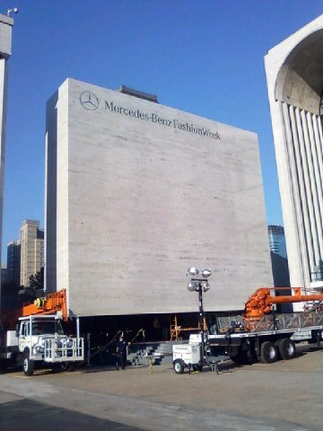 Mercedes-Benz Fashion Week Custom Banners building wrap manufactured by National Flag & Display (New York, NY)