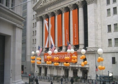 NYSE PowerShares event - full building facade custom banner and flag manufactured by National Flag & Display (New York, NY)