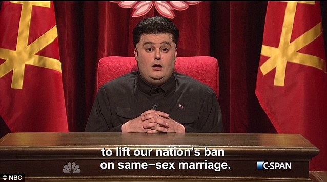In Saturday Night Live opening segment, actor Bobby Moynihan played the North Korean dictator giving a speech before an adoring crowd. Flags displayed behind him were produced by National Flag & Display (NYC).
