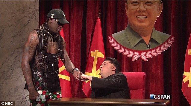 Bobby Moynihan and Dennis Rodman on SNL during comedy skit on North Korean dictator Kim Jong Un.