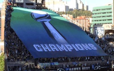 """2014 NFL season kicked off  – Seattle Seahawks """"Hawk Nest"""" outdoor banner by National Flag & Display"""