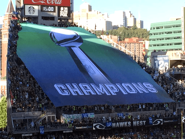 The 2014 NFL season kicked off at Century Link Field on Thursday night 9-4-14 in match up against Super Bowl Champions Seattle Seahawks & the Green Bay Packers. Seahawks Nest Banner produced by National Flag & Display (NYC)