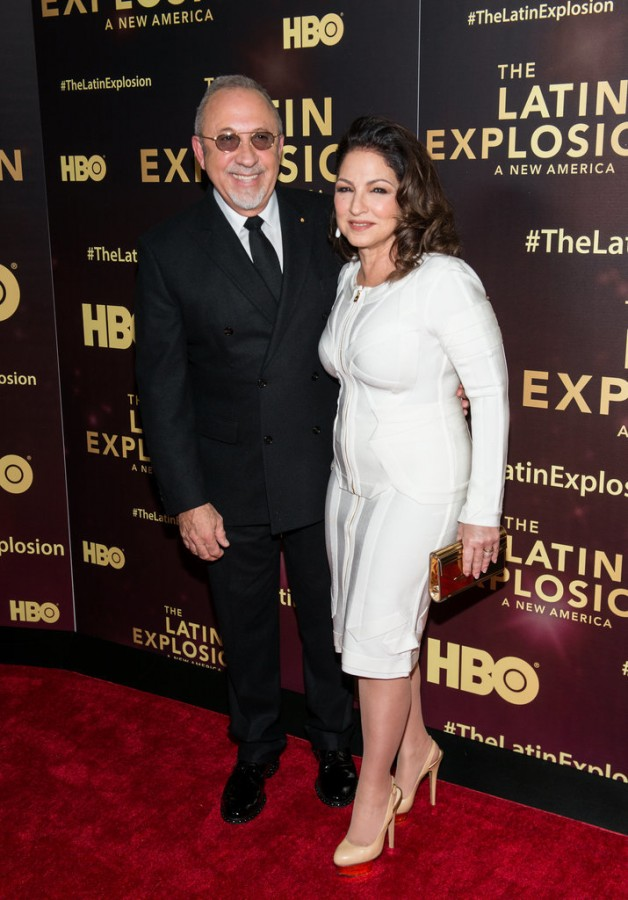 "Tommy Mottola and Gloria Estefan at HBO'S "" The Latin Explosion: A New America"" premiere - National Flag & Display produced Step and Repeat Backdrop Banners"