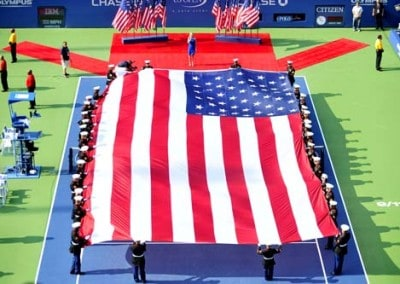 US Open 2011 event - Custom Flag manufactured US Open 2011 by National Flag & Display (New York, NY)