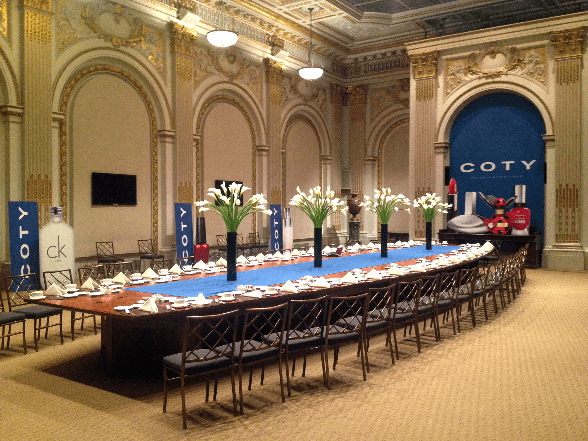 Coty Special Corporate Event - custom indoor banners produced by National Flag & Display, manufacturers of banners and flags in NYC since 1935.