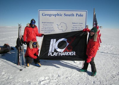 110% Play Harder - Geographic South Pole Expedition custom flag banner manufactured by National Flag & Display (New York, NY)