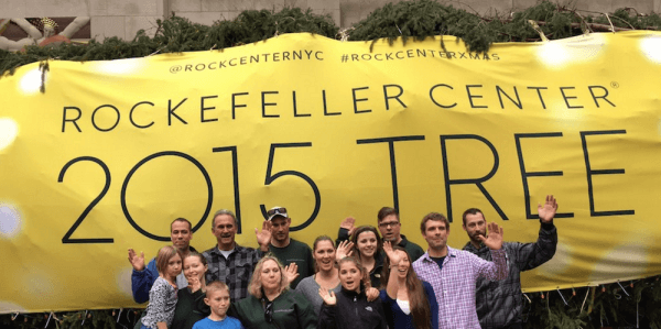 The Asendorf and Puchalski family donated the Norway spruce - National Flag and Display produces Custom Outdoor Banner for the 2015 Rockefeller Center Christmas Tree.
