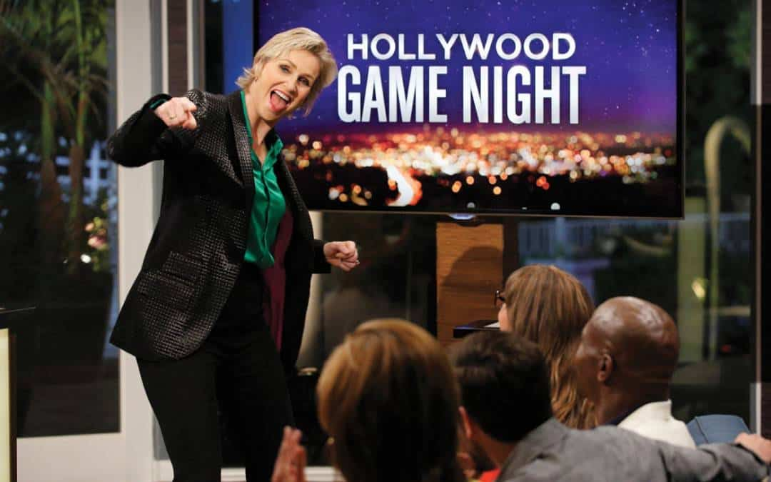 National Flag and Display produces the background city scene for the game show Hollywood Game Night