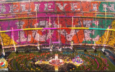 Super Bowl 50 halftime show – National Flag & Display produced various logo flags, streamers & printed fabrics