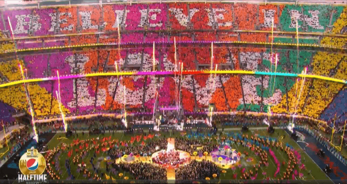 National Flag & Display produced various logo flags, streamers and printed fabrics using the Dye-Sublimation method for the Super Bowl 50 halftime show.