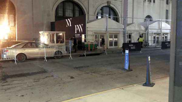 National Flag and Display produces tent wrap for the 2016 New York Fashion Week event, #NYFW. The wrap was printed on Poly Poplin using the Dye-Sublimation printing process.