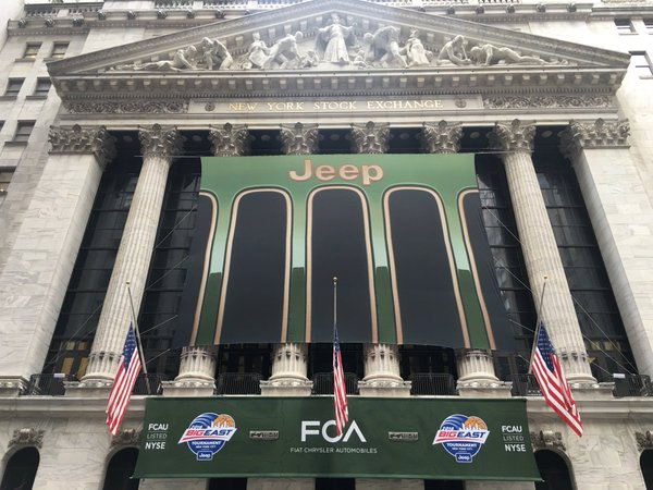 National Flag and Display, produces, Custom Banners, New York Stock Exchange, Jeep, FCA Fiat, Chrysler Automobiles, Big East Conference
