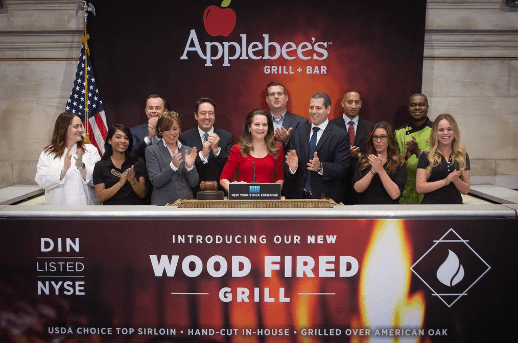 National Flag and Display produces the Custom Banners at the New York Stock Exchange for Applebee's Grill & Bar.