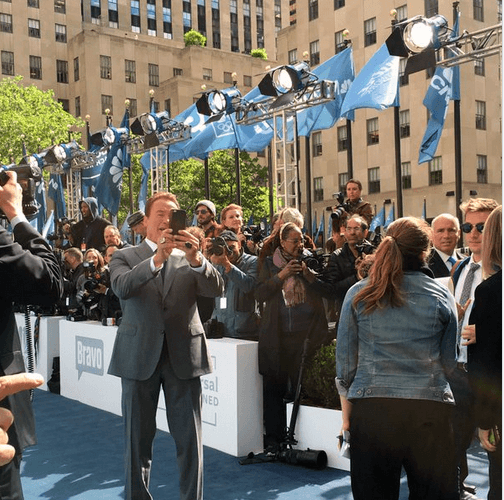 National Flag & Display produces Custom Flags and Barricade Covers for the 2016 NBC Upfronts event at the Rockefeller Center.