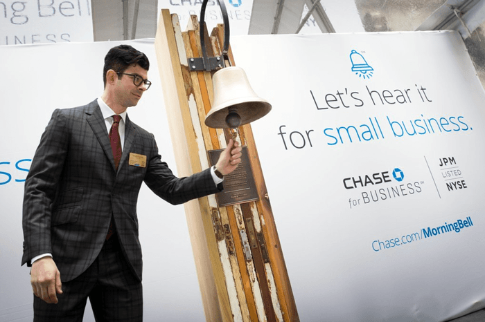 National Flag and Display produces the Custom Banners at the New York Stock Exchange, for Chase for Business. Chase for Business today rang the opening bell and launched a new way to celebrate and promote small businesses.