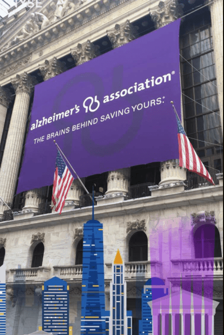 National Flag & Display produces Custom Banners at the New York Stock Exchange for the Alzheimer's Association