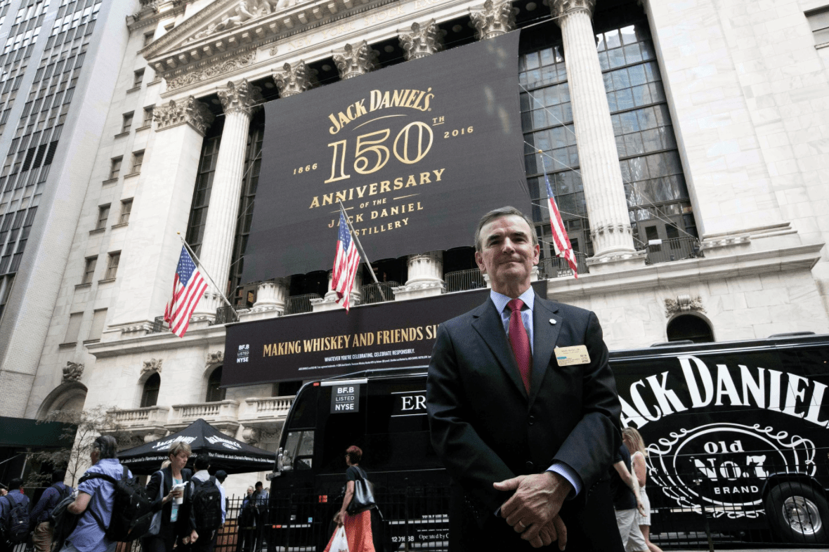National Flag and Display produces Custom Banners at the New York Stock Exchange for the Brown-Forman Corporation, celebrating the 150th anniversary of their brand Jack Daniel's.