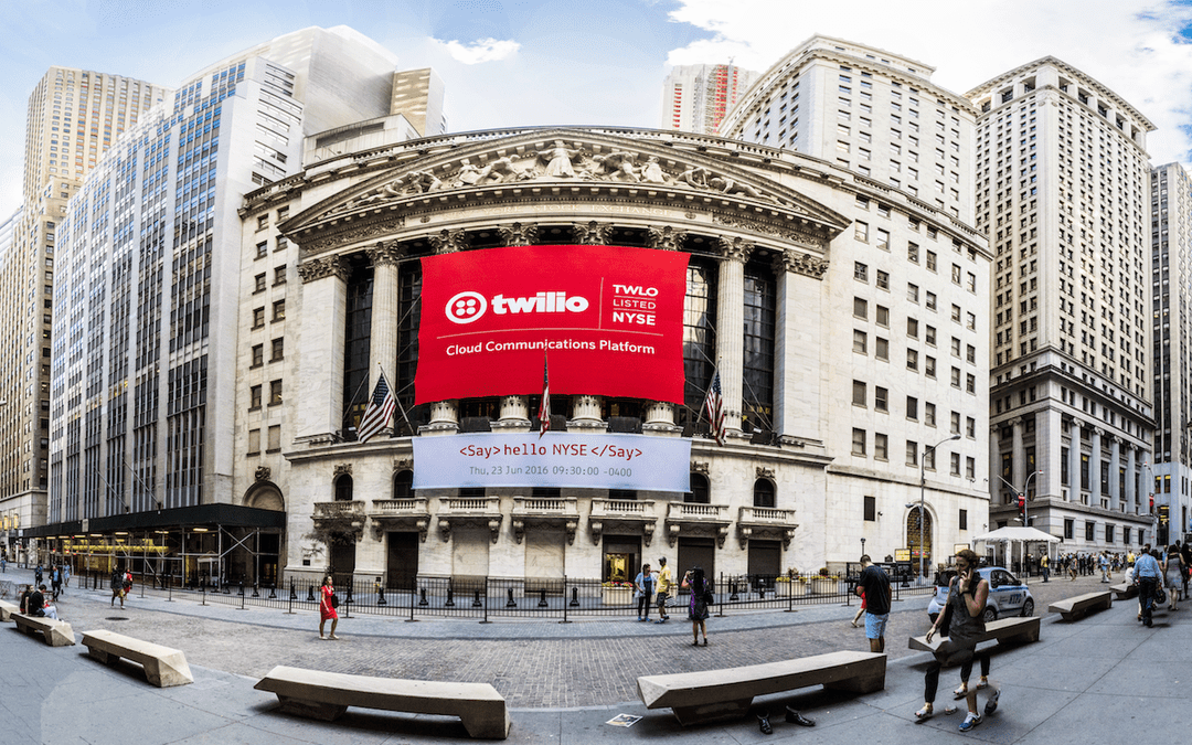 National Flag & Display produces  Custom Banners at the New York Stock Exchange for Twilio's initial public offering.