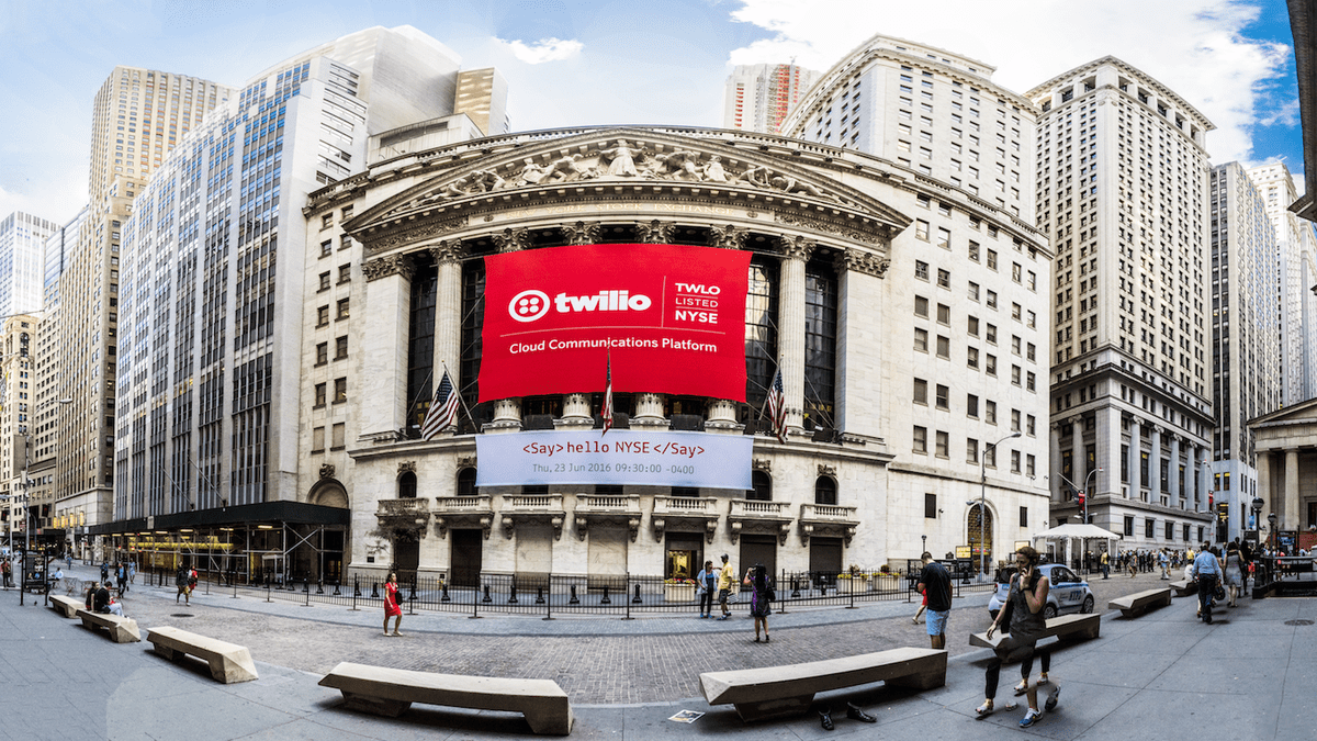 National Flag and Display produces Custom Banners at the New York Stock Exchange for Twilio's initial public offering.