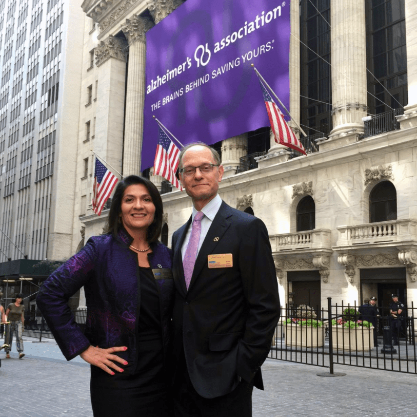 National Flag and Display produces Custom Banners at the New York Stock Exchange for the Alzheimer's Association. The group is celebrating Brain Awareness Month in June to raise awareness of Alzheimer's disease.