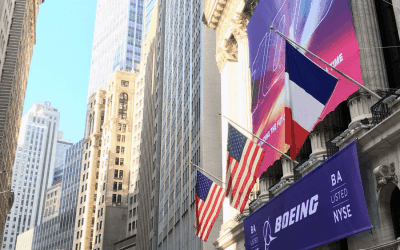 National Flag and Display produces Custom Banners at the New York Stock Exchange for the Boeing Company