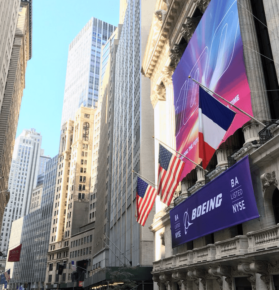 National Flag and Display produces Custom Banners at the New York Stock Exchange for the Boeing Company.