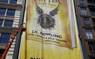 National Flag & Display produces Custom Outdoor Banner Harry Potter and the Cursed Child for Scholastic Corporation