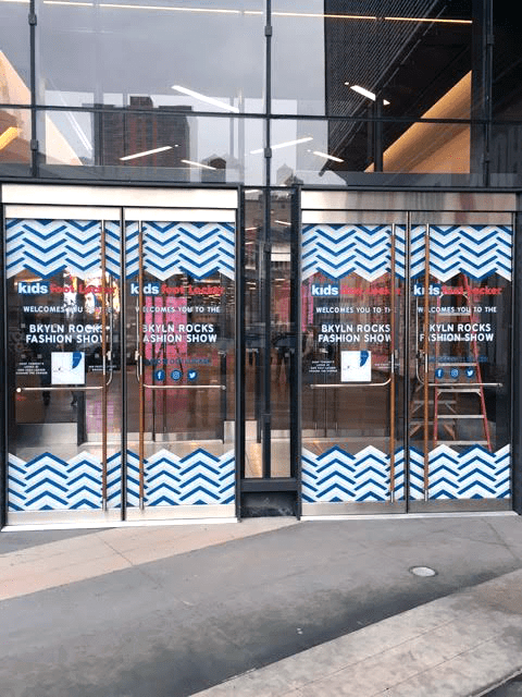 National Flag and Display produces Vinyl Adhesive Graphics for Brooklyn Rocks Fashion Show for Kids Foot Locker, at City Center in Downtown Brooklyn.