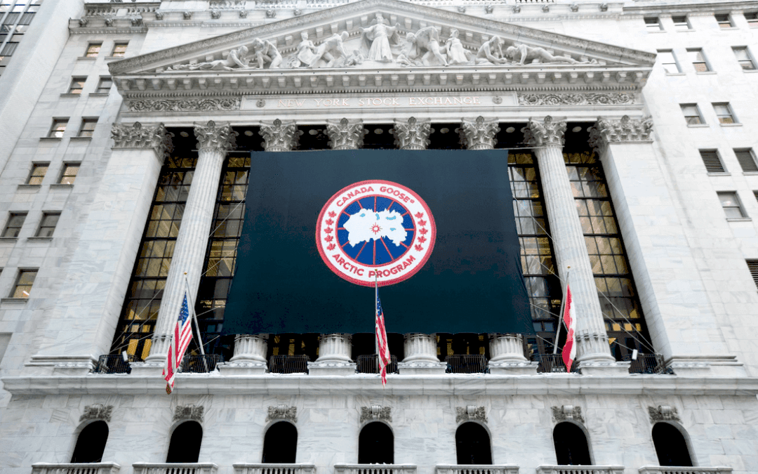 National Flag & Display produces Custom Banner at the New York Stock Exchange for the  Canada Goose Holdings Inc.