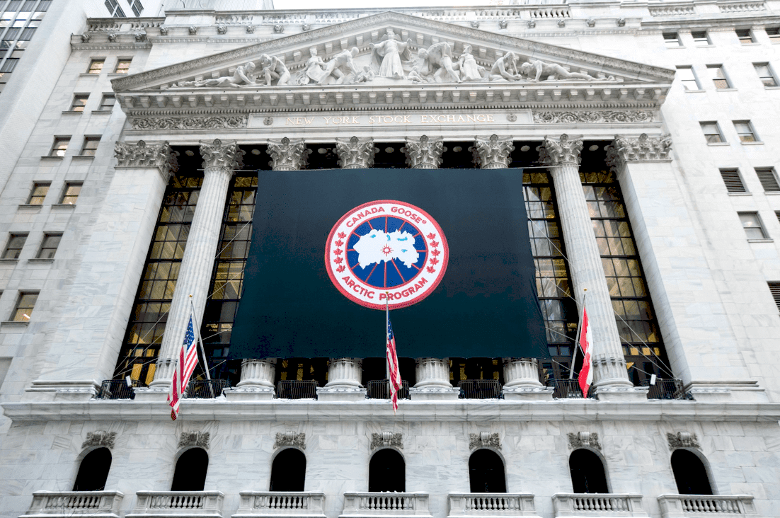 National Flag & Display produces Custom Banner at the New York Stock Exchange for the Canada Goose Holdings Inc. Initial Public Offering.