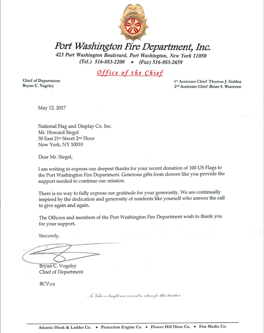 National Flag & Display donates 100 US Flags to Port Washington NY Fire Department