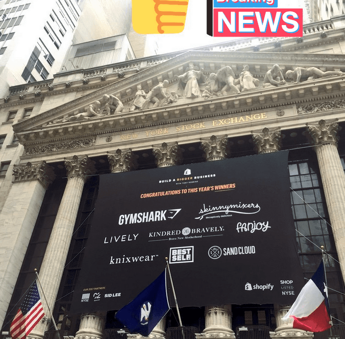 National Flag and Display produces Custom Banners for Shopify Inc. at the New York Stock Exchange. Shopify is celebrating it's first ever Build a BIGGER Business competition event, an entrepreneurial challenge for ready-to-scale online businesses.