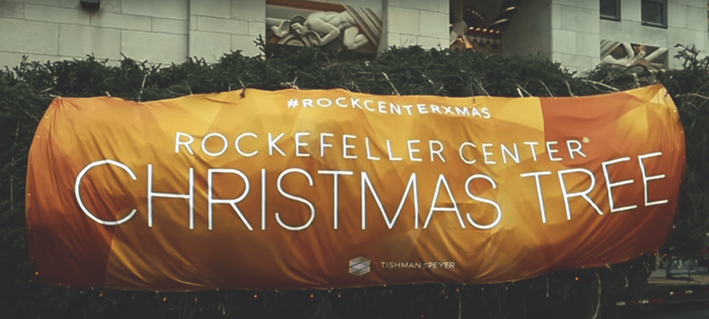National Flag and Display produces the Custom Banner for the 2017 Rockefeller Center Christmas Tree. The tree is a 75 foot tall Norway Spruce from College Park, Pennsylvania. The tree will be lit on Wednesday, November 29th.