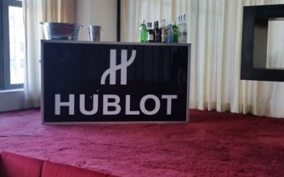 "National Flag & Display produces Custom Banner  Hublot/Haute Living 2018 NBA Draft ""Watch Party"""