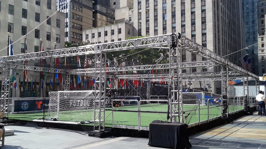 National Flag & Display provides graphics heralding the 2018 World Cup party at Rockefeller Center
